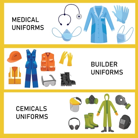 Vector protective uniform and equipment banner set. Professional clothing for work in contaminated or chemical areas, medical uniform and builders equipment. Professtional industrial safety wear 写真素材 - 126714172