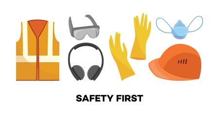 Vector safety first concept symbols set with protective uniform and equipment icon. Professional clothing for work in contaminated areas, bio hazard or at dirty manufacturing. industrial safety wear  イラスト・ベクター素材
