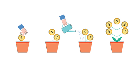 Vector investment concept with hand planting golden coin as a seed into ceramic pot, then watering it from watering can with plant with growing money as result. Business planning and profit symbol