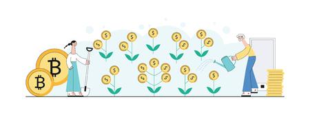 Vectorinvesteringsconcept met vrouw en man die gouden munt met groene bladerenzaailingen planten en drenken om geldboom te krijgen met smartphone en munten geplakte achtergrond.