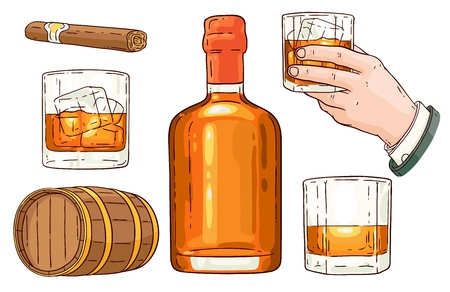 Insieme di simboli del whisky di vettore. Bottiglia di vetro, mano dell'uomo che tiene un bicchiere di scotch con cubetti di ghiaccio, barile di alcol in legno, set di icone di schizzo di sigaro avana fumante. Design pubblicitario per prodotti alcolici.