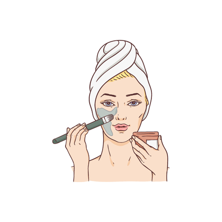 Vector woman applying facial mask. Face skin treatment and therapy concept. Young woman with towel and spa salon. Cosmetic skincare product packaging design.