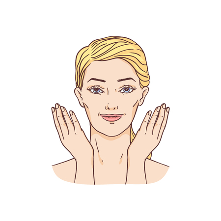 Vector young woman with towel and hairs removing make-up washing face. Face skincare treatment, cosmetic cleaning, spa products packaging design. Illustration