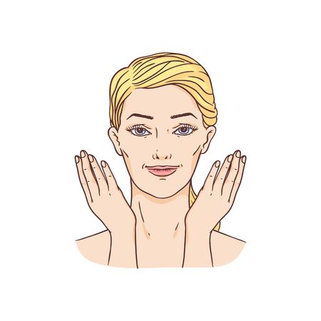 Vector junge Frau mit Tuch und Haaren, die das waschende Gesicht des Make-up entfernen. Gesichtspflege, kosmetische Reinigung, Verpackungsdesign für Spa-Produkte.