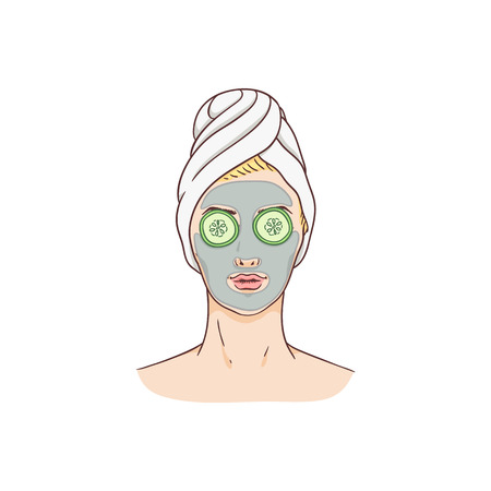 Vector woman with facial mask and cucumbers. Face skin treatment and therapy concept. Young woman with towel and spa salon. Cosmetic skincare product packaging design.