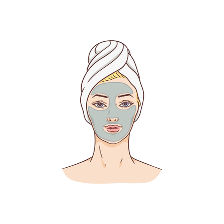 Vector woman with facial mask. Face skin treatment and therapy concept. Young woman with towel and spa salon. Cosmetic skincare product packaging design. Illustration