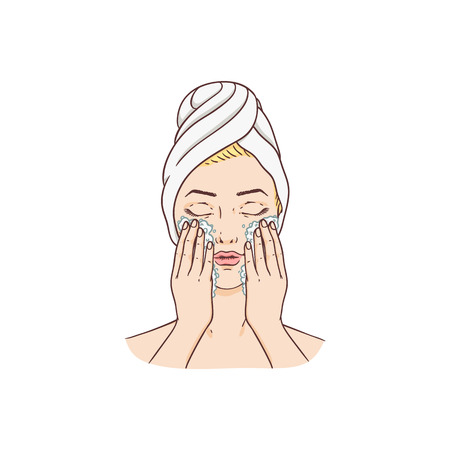 Vector young woman with towel and hairs removing make-up washing face. Face skincare treatment, cosmetic cleaning, spa products packaging design. Иллюстрация