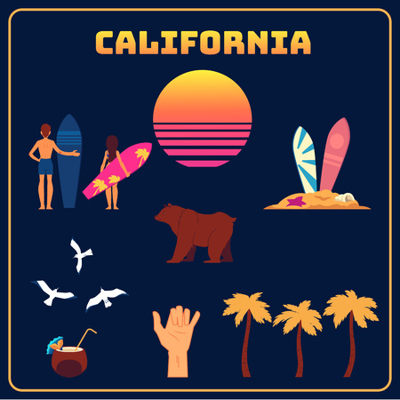 Vector california symbols set. Raising sun, young male and female characters in swimsuit holding surfboards, brown bear, exotic cocktail with straw, palm and hand with surfers gesture.