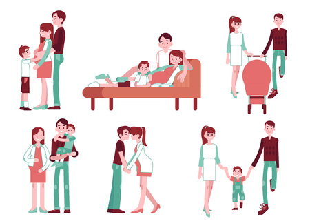 Vector pregnancy, motherhood concept characters set. Happy family life scenes frin pregnancy ti newborn baby and small kid son. Mother, father waling with stroller, kissing together