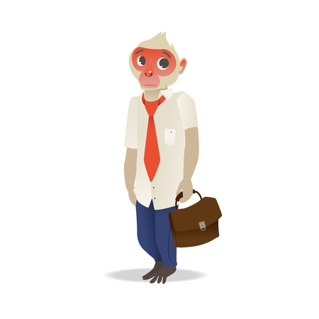 Vector funny monkey office character. Cute ape in office suit standing with sad facial expression holding suitcase. Clerk animal manager isolated