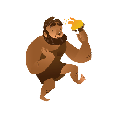 Vector sketch caveman walking in loincloth made of leather holding torch waving hand. Prehistory barbarian, ancient primitive homo male character. Isolated illustration