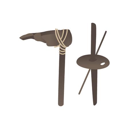 Set di armi e strumenti primitivi dell'età della pietra di vettore. Martello preistorico, ascia cavernicolo e strumento per fare fuoco. Collezione di manufatti archeologici dell'antica civiltà. Illustrazione isolata Vettoriali