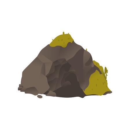 Vector icono de dibujos animados de piedra de gran roca gris. Objeto de paisaje natural, bloque pesado de granito cubierto de musgo. Construcción sólida y rugosa para el diseño de juegos. Ilustración aislada Ilustración de vector