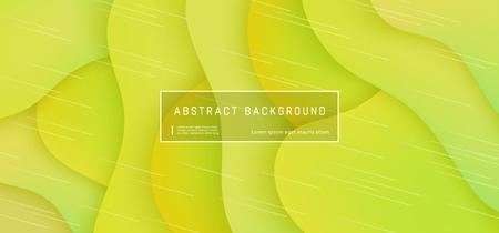 Vector abstracte achtergrond met expressieve gele golfbewegingsstroom. Presentatiesjabloon in moderne stijl, commerciële posterlay-out, dynamisch creatief advertentiebannerbehang met ruimte voor tekst Vector Illustratie