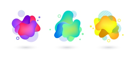 Vector vivid gradient spots with geometric symbols set on isolated background. Abstract elements for trendy vibrant color design. Fluid blots, wavy dops, flowing elements. Plasma splash illustration