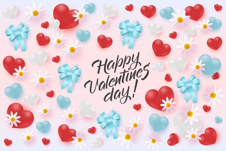 Happy Valentine Day greeting banner or card with realistic 3d heart shapes, bows and flowers on pastel pink background - vector illustration of romantic floral love congratulation for 14 February. Ilustracja