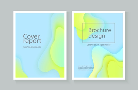 Vector corporate report cover background with expressive blue green wave motion flow. Modern style presentation template, commercial poster layout, dynamic brochere design