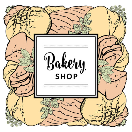 Vector bakery brand logo with loafs of white, brown rye bread, wheat ears and frame for name. Bakeshop menu background, illustration for cafe or restaurant. Baking food package template.