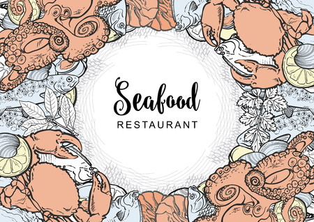 Vector seafood restaurant, cafe logo, advertising poster with square underwater animals delicacy pattern. Marine composition with crayfish, flatfish octopus and trout withlemon slice