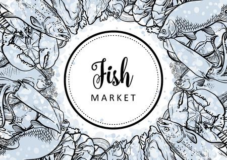 Vector fish market monochrome pattern, seafood restaurant, cafe logo, advertising poster with underwater animals. Marine composition with squid, lobster, tuna, trout flatfish with lemon slice Standard-Bild - 114108651