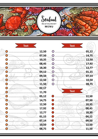 Vector seafood restaurant menu design template. cafe logo and list of dishes with sketch underwater animals delicacy pattern. Marine composition with shrimps, crawfish, octopus with caviar