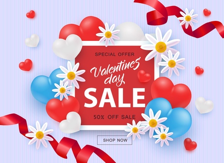 Valentines day sale and special offer with 50 percent discount banner in vector illustration - promotion sign on red square shape surrounded by realistic 3d hearts, flowers and ribbons.