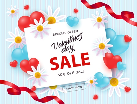 Vector illustration of Valentines day sale and special offer banner. 14 February holiday promotion text on white card surrounded by realistic hearts, flowers and ribbons on pastel blue background. Ilustracja