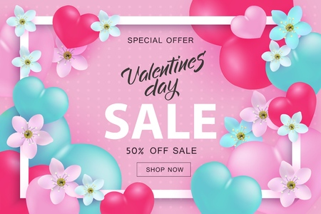 Valentines Day sale and special offer banner with frame of pink and turquoise realistic hearts and flowers and promotion sign on pink background - vector illustration for 14 February advertising.