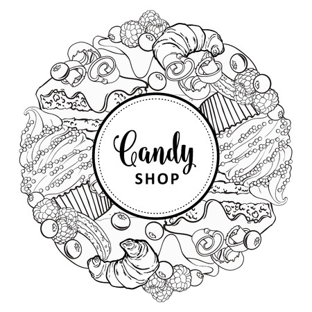 Vector candy shop monochrome brand logo, signage background or poster template. Cupcakes, croissant macaroni with delicious cream, berries emblem. Hand drawn sketch desserts for pastry menu design. Ilustrace