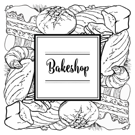Vector bakeshop brand logo with loafs of white, brown rye bread, croissant, cake frame for name. Monochrome bakery menu background, illustration for cafe or restaurant. Baking food package template.