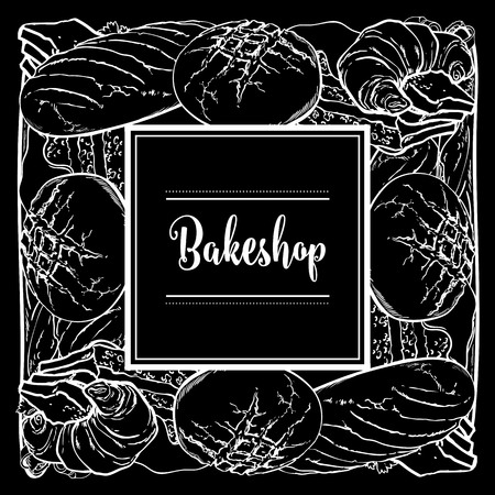 Vector bakeshop brand logo with loafs of white, brown rye bread and frame for name. Monochrome black bakery menu background, illustration for cafe or restaurant. Baking food package template.