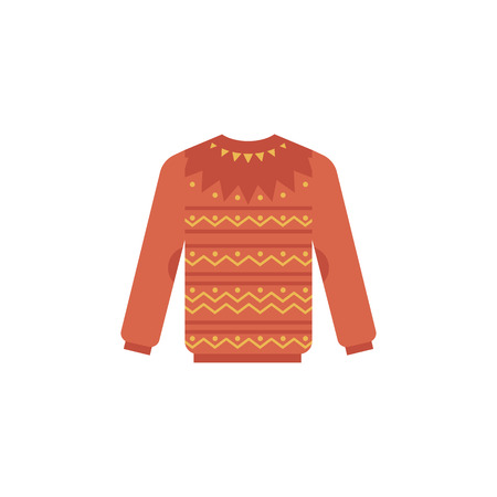 Knitted sweater vector illustration - cute winter warm red pullover with pattern isolated on white background. Seasonal apparel for wearing in cold weather in flat style.
