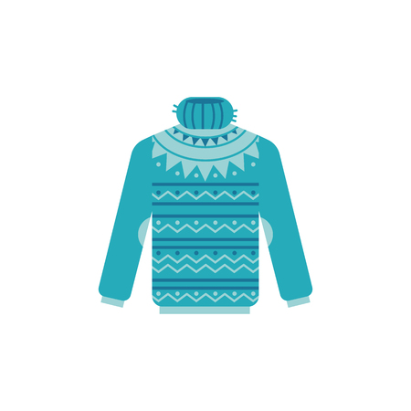 Vector illustration of knitted sweater with high neck isolated on white background. Cute winter warm turquoise pullover with pattern - seasonal apparel for wearing in cold weather in flat style.