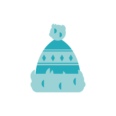 Vector illustration of winter knitted hat with fur pom pom in flat style isolated on white background - seasonal turquoise warm headdress with pattern for wearing in cold weather. Illustration