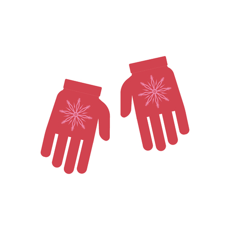 Vector illustration of winter knitted gloves with ornament in flat style isolated on white background - seasonal red warm accessory with pattern for protection of hands in cold weather.