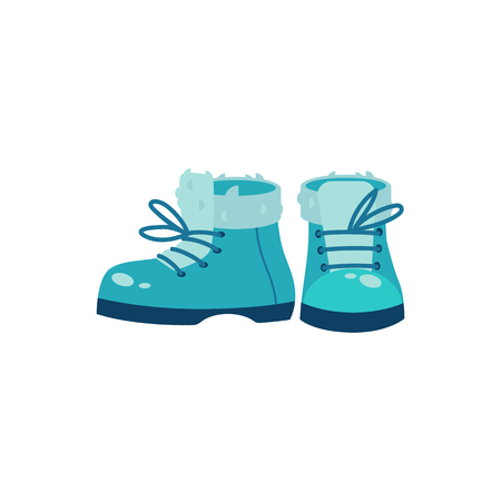 Winter footwear vector illustration in flat style - cute turquoise warm shoe with fur top and shoelaces for walking or sports. Seasonal boots for wearing in cold weather isolated on white background. Banque d'images - 126555993