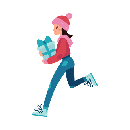 Vector illustration of young woman with wrapped present box runs and hurries in flat style - female character in winter clothes shopping isolated on white background for winter holidays design. Ilustrace