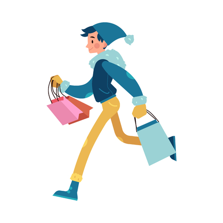 Vector illustration of man with colorful shopping bags in flat cartoon style. Young male character in winter clothes runs and hurries isolated on white background for holiday design.