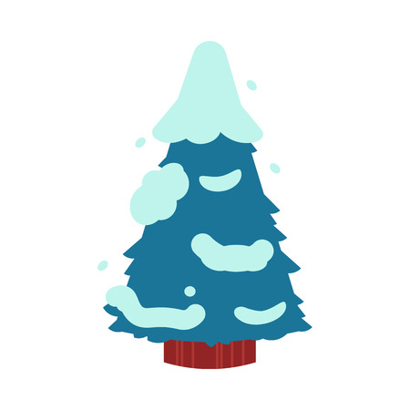 Vector illustration of fir-tree covered with snow in flat style. Winter decorative element of forest or park snowy spruce isolated on white background for seasonal natural design.