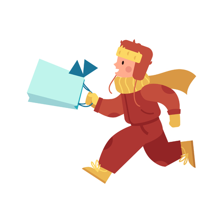 Vector illustration of kid boy in bright winter clothes running and hurries with decorated shopping bag in flat cartoon style isolated on white background for Christmas and New Year gifts concept. Ilustrace