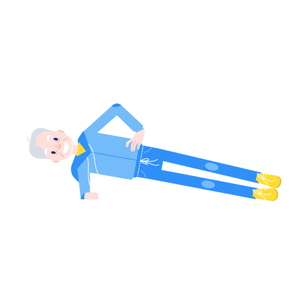 Vector flat elderly man in sportsuit doing sport. Old male character working out abdominal muscles doing side plant. Grandfather at retirement, pension and healthy lifestyle.