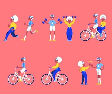 Vector illustration set of sporty aged people in flat style - isolated elderly man and woman doing sport exercises and having active leisure for healthcare in old age concept. Vettoriali