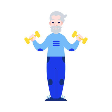 Vector illustration of aged man raising hands with dumbbells in flat style. Isolated elderly male character with gray hair doing sport exercises for healthy and active lifestyle in old age concept.