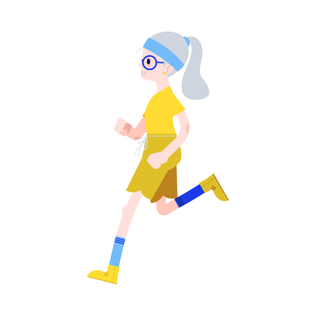 Vector illustration of aged gray-haired woman in sportswear jogging in flat style isolated on white background - active and sporty grandmother running for healthcare in old age concept.