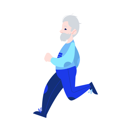 Vector illustration of aged gray-haired man in sportswear jogging in flat style isolated on white background. Active and sporty grandfather running for healthcare in old age concept.