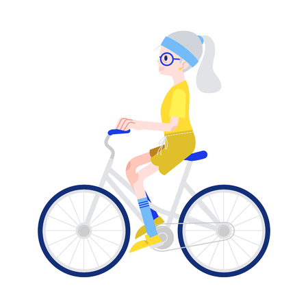 Vector illustration of elderly woman riding bike in flat style isolated on white background - smiling gray-haired grandmother on bicycle for sport and active leisure in old age concept.