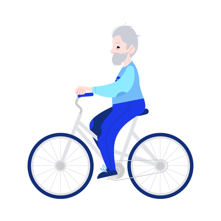Vector illustration of elderly man riding bike in flat style isolated on white background. Smiling gray-haired grandfather on bicycle for sport and active leisure in old age concept.