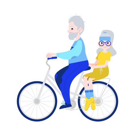 Vector illustration of grandfather driving grandmother on bicycle in flat style - isolated aged male and female characters in sportswear for sport and active leisure in old age concept. Banque d'images - 126556025