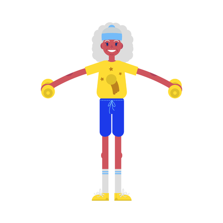 Vector flat elderly african woman in sportsuit doing sport. Old female black character working out with dumbbells. Grandmother at retirement, pension and healthy lifestyle. Banque d'images - 126556041