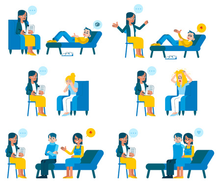Vector illustration set of psychotherapists appointment in flat style - various people with psychological problems receiving consultation from female doctor isolated on white background.